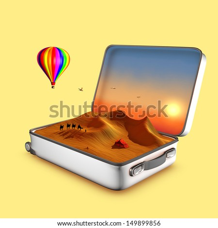 Open suitcase that shows dunes, touareg tent, camels, a hot air balloon and a sunset.This is an invitation to travel. 3D illustration concept. - stock photo