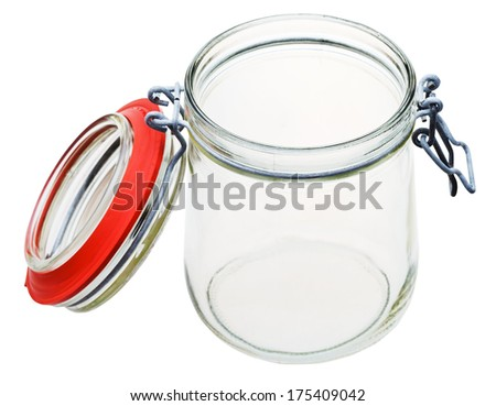 open Swingtop Bale glass jar isolated on white background