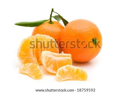 open tangerine on white background - stock photo