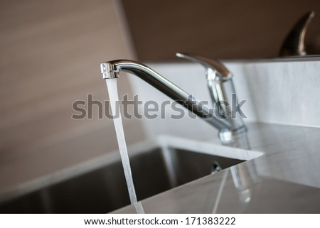 Open tap water from the faucet.