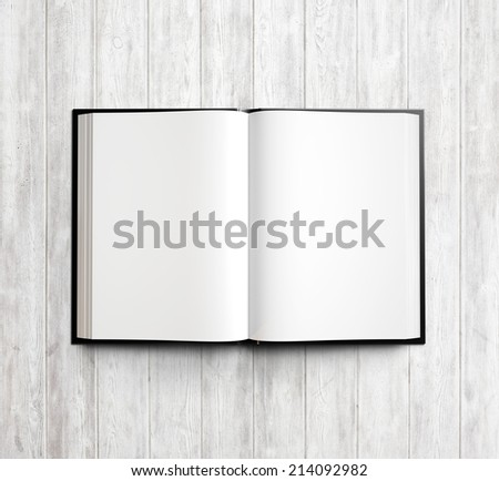 Open textbook with clean blank pages - stock photo