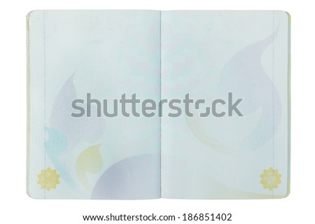 open Thailand blank Passport page on white