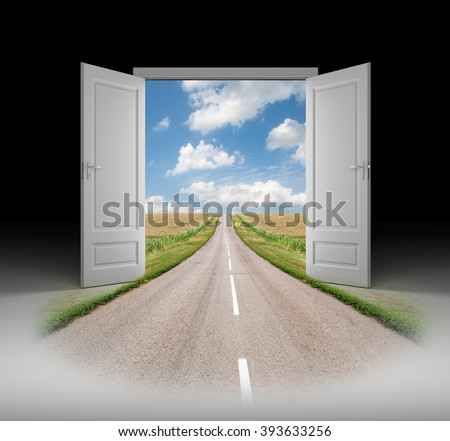 Open the door to a new reality - stock photo