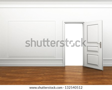 open the door to the room - stock photo