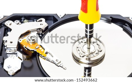 Open the Hard disk isolated on a white background