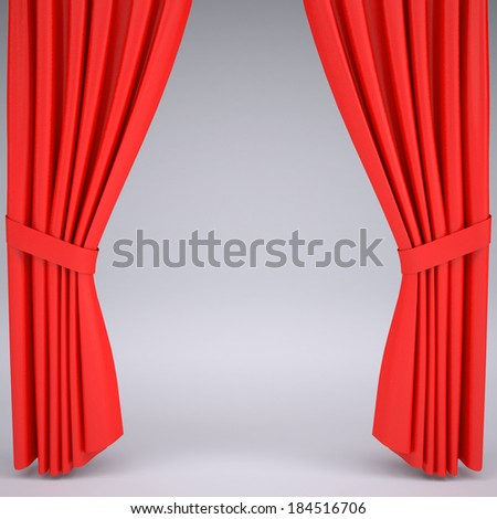 Open the red curtain. Behind the curtain of gray studio background - stock photo