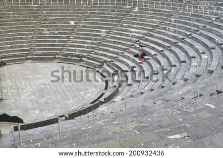 open theater empty - ioannina - Frotzou theater - on the hill - stock photo