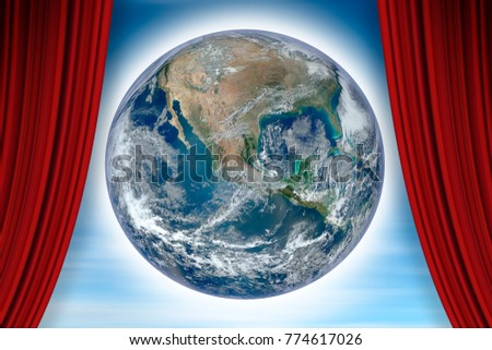 Open theater red curtains against our wonderful Planet Earth - concept image with image from NASA