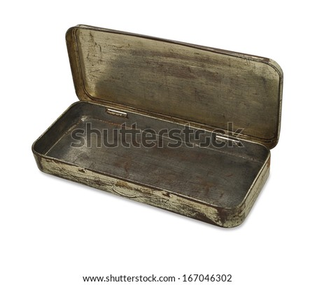Open Tin Box Isolated on White - stock photo