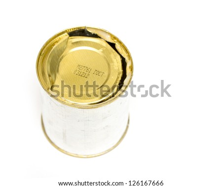 open tin can isolated on white background