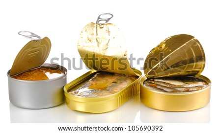 Open tin cans isolated on white - stock photo