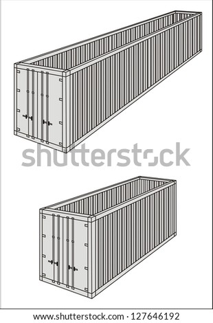 Open top/oversize/over-dimensional cargo container line drawing - international maritime trade black and white raster illustration (part 3) - stock photo