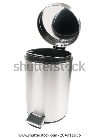 open trash can isolated on white background - stock photo