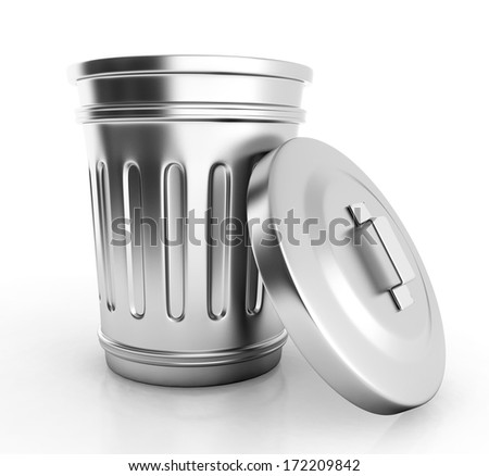open trash can isolated on white. 3d illustration - stock photo