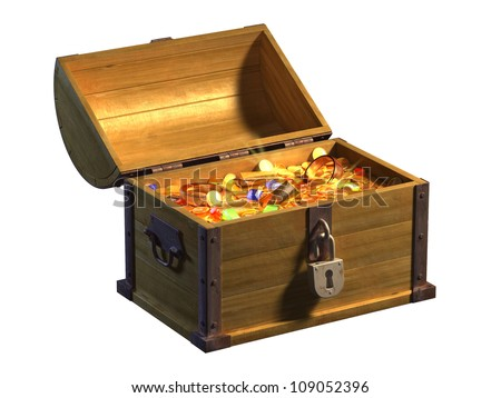 Open treasure chest showing its coins, gold and precious stones content. Digital illustration. - stock photo