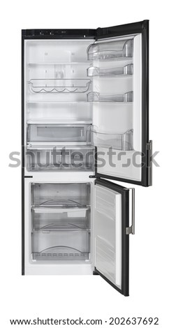Open two door black refrigerator isolated on white - stock photo