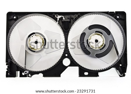 open video cassette isolated on white - stock photo