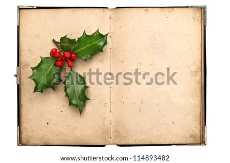 open vintage book with christmas decoration holly berry. isolated on white background - stock photo
