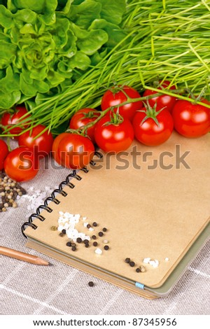 open vintage notebook with tomatoes, chives and spices