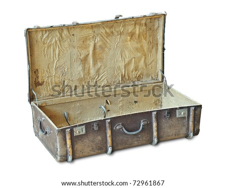 Open vintage suitcase isolated over white. With Clipping Path - stock photo