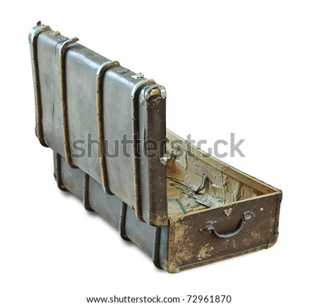 Open vintage suitcase isolated over white. With Clipping Path