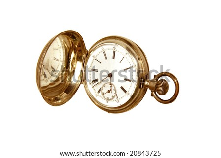 Open vintage Swiss pocket watch, face reflected in case, isolated on white - stock photo