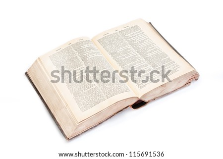 Open vocabulary of the 19th century. The book is bound in leather - stock photo