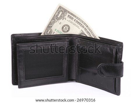 Open wallet with one dollar, isolated with shadow