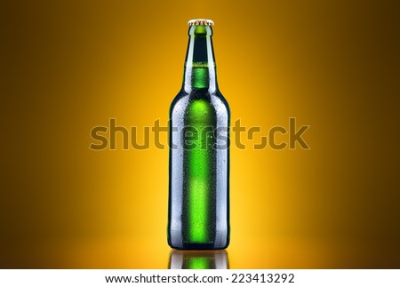 open wet beer bottle on a colored background - stock photo