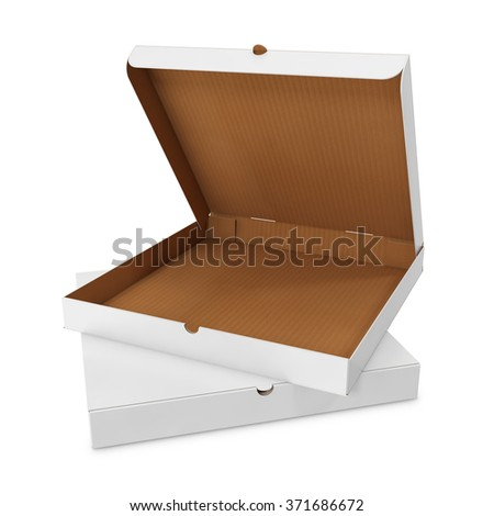 Open white box for pizza isolated - stock photo