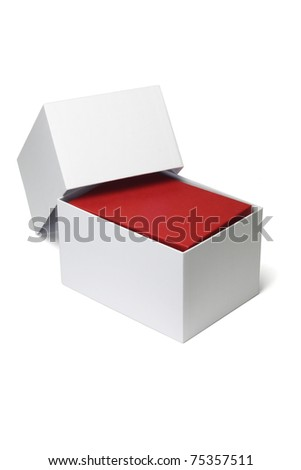 Open white box with red giftbox inside on isolated background