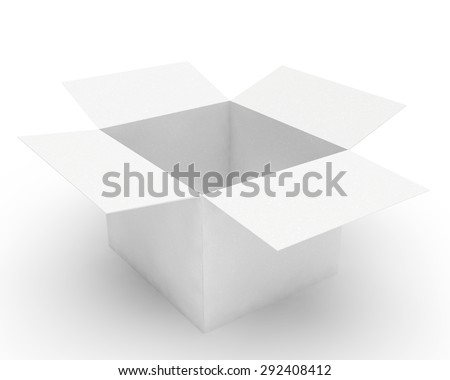 open white cardboard box for packing - stock photo