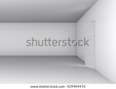 Open white door and blank wall, showroom. 3D illustration
