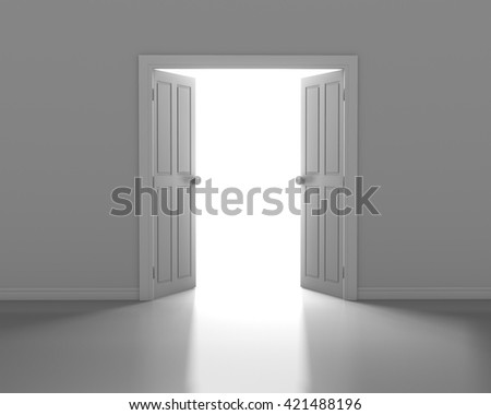 open white door in wall 3d rendering - stock photo
