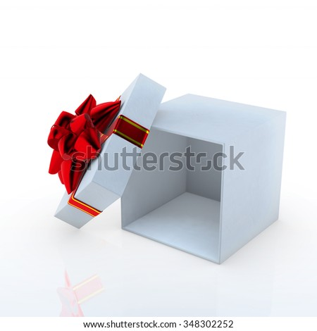 Open white gift box with red ribbon 3d render on white background