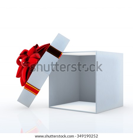 Open white gift box with red ribbon 3d render on white background  - stock photo