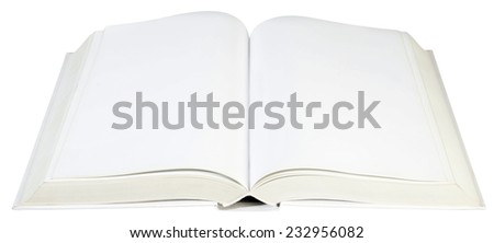 Open White Hard book Isolated with Clipping Path - stock photo