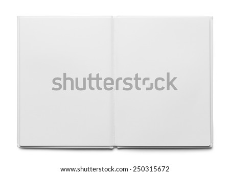 Open White Hard Cover Book Isolated on White Background. - stock photo
