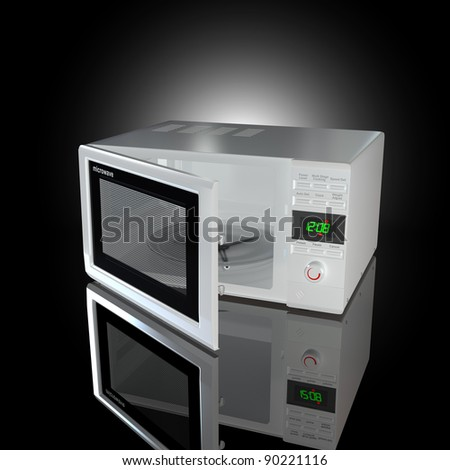 Open white microwave on black background. 3d - stock photo