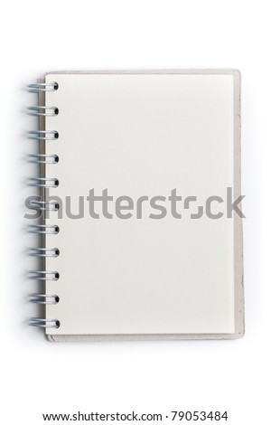 Open white notepad with blank pages for copyspace