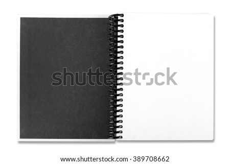 Open white paper notebook on the white background - stock photo