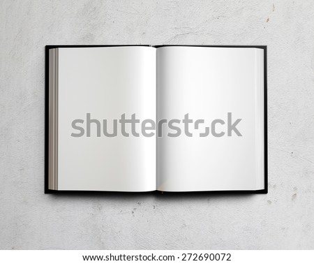 Open white textbook on concrete. 3d render - stock photo
