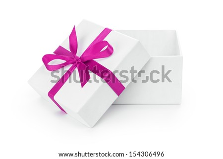 open white textured gift box with purple ribbon bow, isolated on white