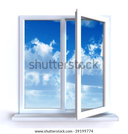 Open window against a white wall and the cloudy sky and sun - stock photo