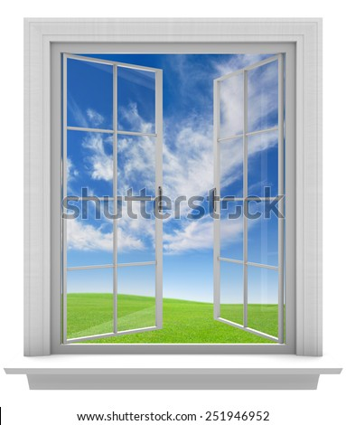 Open window allowing fresh spring air into the home - stock photo