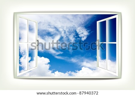 Open window and beautiful view of the sky