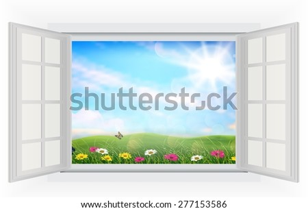 Open window beautifully spring meadow colorful flowers - stock photo