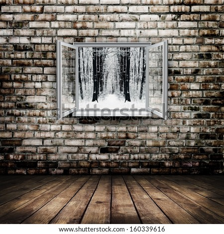 Open window from old room with winter forest on a background - stock photo