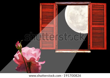Open window full moon and rose flower in a moonlight on the dark background - stock photo