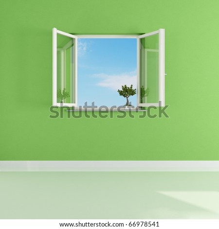open window in a empty green room-rendering